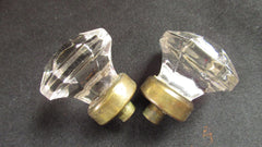 2 x Antique Clear Cut Glass & Brass Drawer Knobs