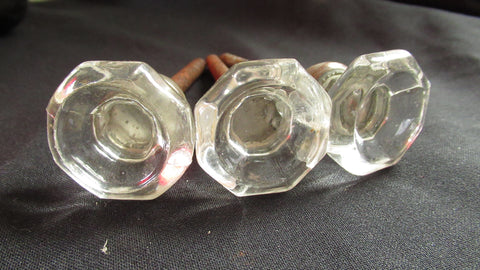 3 x Antique Clear Concave Cut Glass & Nickel Drawer Knobs