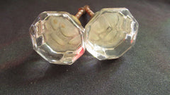 3 x Antique Clear Cut Glass & Brass Drawer Knobs
