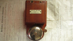 Restored Art Deco Wood, Brass & Steel Electric Doorbell - Wilson Manchester 4-6v