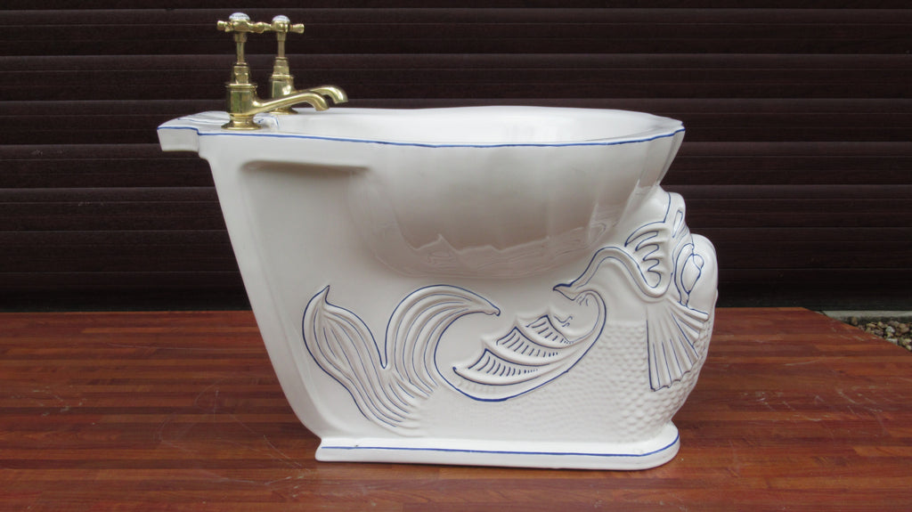 Vintage Blue & White Dolphin Shell Johns Armitage Bidet