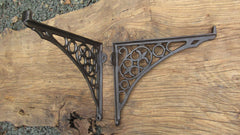 "10 1/2"" Antique Ornate High Level Cast Iron Toilet Cistern Brackets - No 1"
