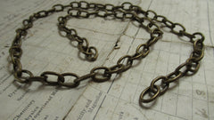 Antique Solid Brass Toilet Chain - Oblong