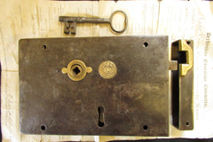 "9"" x 6"" Victorian Cast Iron & Brass Door Rim Lock, Key & Fancy Keep - Carpenter"
