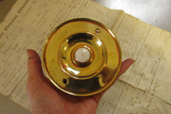 Antique Brass & China Electric Door Bell Push - 4""