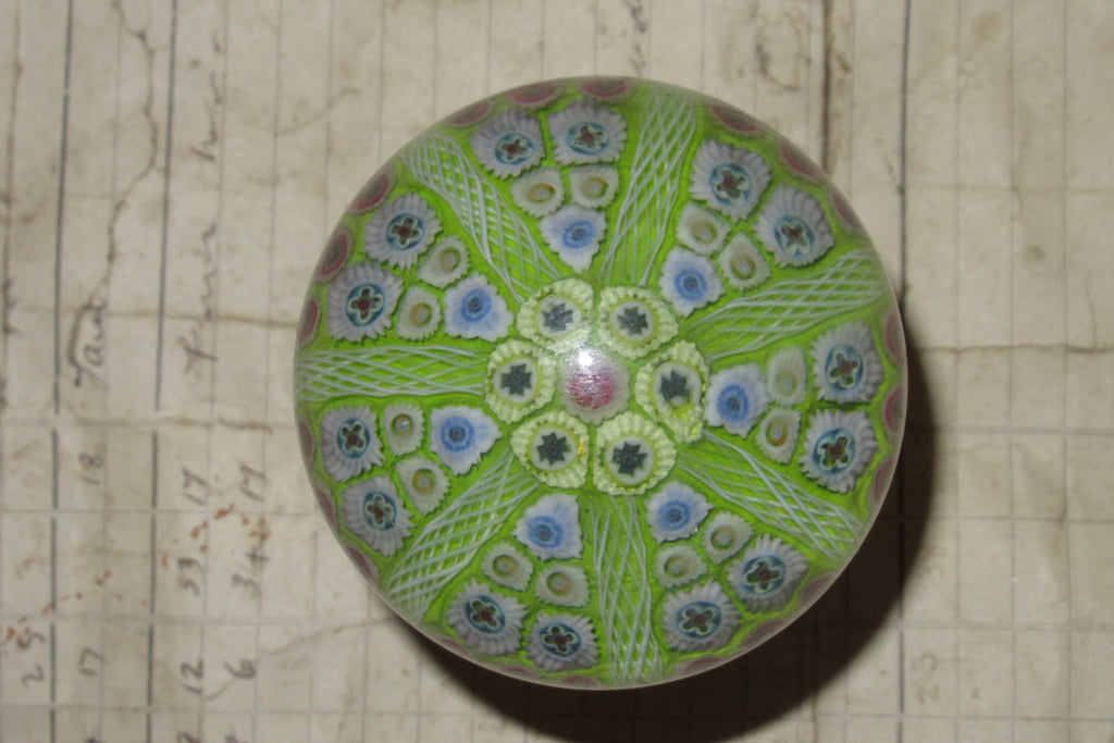 Large Vintage Strathearn Millefiori Glass Paperweight Door Handle - Lime Green