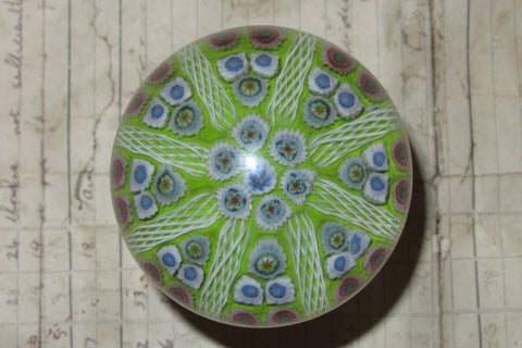 Large Vintage Strathearn Millefiori Glass Paperweight Door Handle - Lime Green/Blue