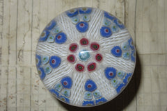 Large Vintage Strathearn Millefiori Glass Paperweight Door Handle - Blue & White