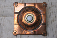 Antique Arts & Crafts Square Copper Electric Door Bell Push - 4""