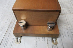Art Deco Wood & Brass Electric Doorbell - 9-12 volts