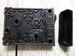 Ornate Art Nouveau Cast Iron Privacy Door Lock - 2 available