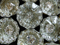 7 Pairs Antique 12 Sided Glass & Brass Door Knobs