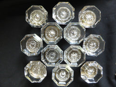 6 Pairs Antique Octagonal Glass Door Knobs Circa 1901