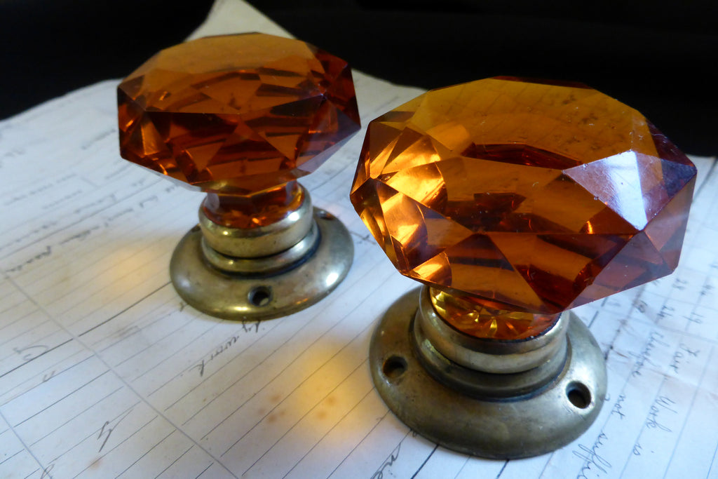 Pair of Antique Amber Cut Glass & Brass Door Knobs