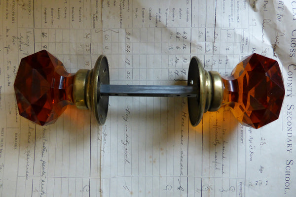 Pair Of Antique Amber Cut Glass Amp Brass Door Knobs