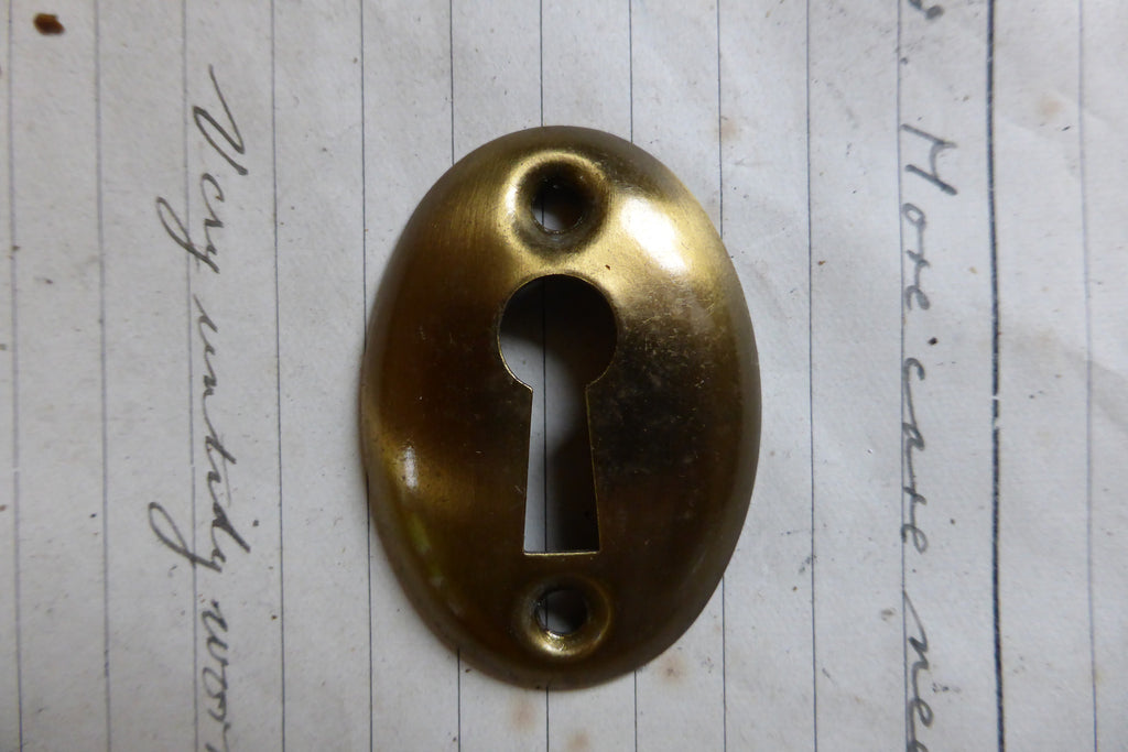 Original Antique Brass Door Escutcheon keyhole cover