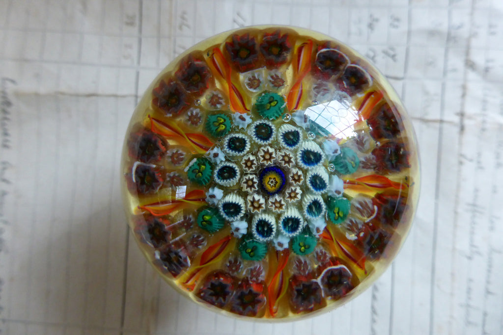 Vintage Strathearn Style Millefiori Glass Paperweight Door Handle - Amber & Yellow