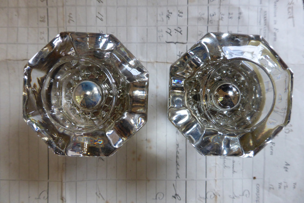 Pair Antique Glass & Brass Rim lock Door Knobs - Bullseye