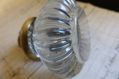 Rare Antique Ribbed Glass & Brass Door Knobs Circa 1900