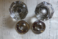 Pair Art Deco 8 Sided Glass Door Knobs + Nickel Back Plates