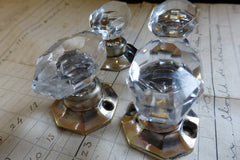 4 Vintage Oval Cut Glass & Brass Drawer Knobs