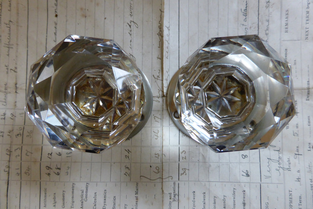 Pair Vintage Cut Glass Door Knobs, Nickel Plated Brass Backplates