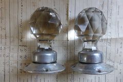 Pair Vintage Cut Glass Door Knobs, Silver Alloy Backplates