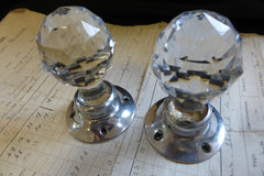 Pair Art Deco Cut Glass & Nickel Door Knobs and Back Plates