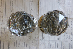 Pair Art Deco Cut Glass & Brass Nickel Plated Door Knobs and Back Plates