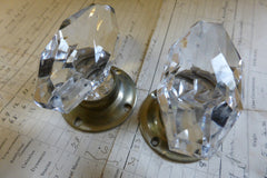 Pair Art Deco Oval Cut Glass & Brass Nickel Plated Door Knobs and Back Plates