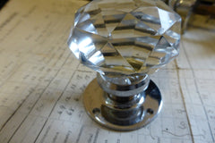 4.5 pairs Vintage Cut Glass & Chrome Door Knobs + Back Plates