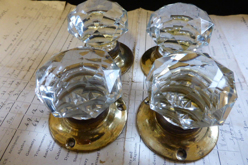 2 Pairs Vintage Cut Glass Door Knobs