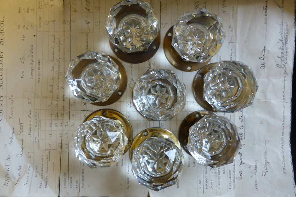 4 pairs Vintage Cut Glass Door Knobs and Back Plates