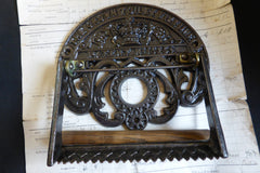 Crown Cast Iron and Wood Antique Toilet Roll / Paper Holder