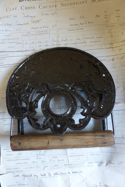 Crown Cast Iron And Wood Antique Toilet Roll Paper