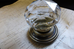 Large Antique Glass & Brass Entrance Door Centre Knob Pull