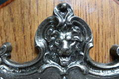 Lion and Dolphin Iron and Wood Antique Toilet Roll / Paper Holder