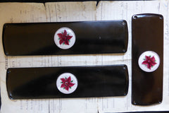 Three Art Deco Bakelite Door Finger Plates - Resin Flowers