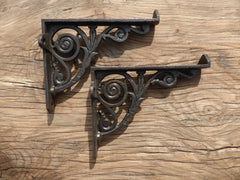 "8"" Antique High Level Cast Iron Toilet Cistern Brackets - Swirls"