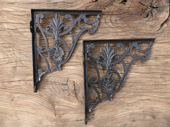 "8"" Antique High Level Cast Iron Toilet Cistern Brackets - Ornate 1901"