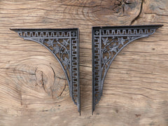 "9 3/4"" Antique High Level Cast Iron Toilet Cistern Brackets - Ivy"
