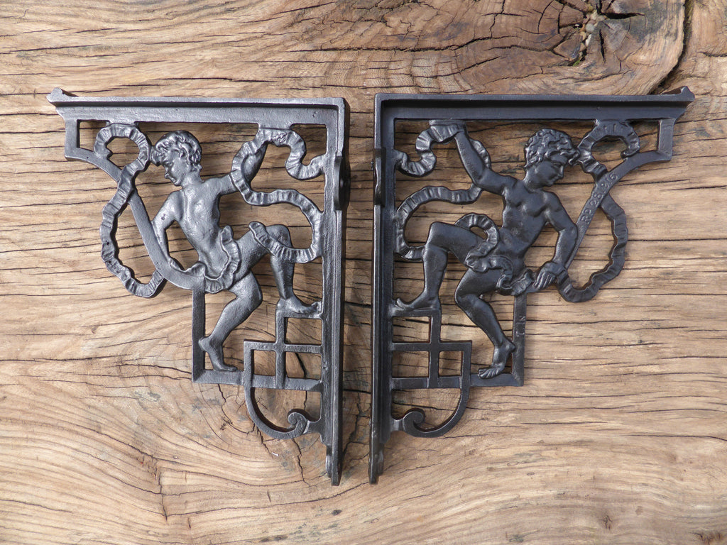 "7"" Reclaimed High Level Cast Iron Toilet Cistern Brackets - Cherub"