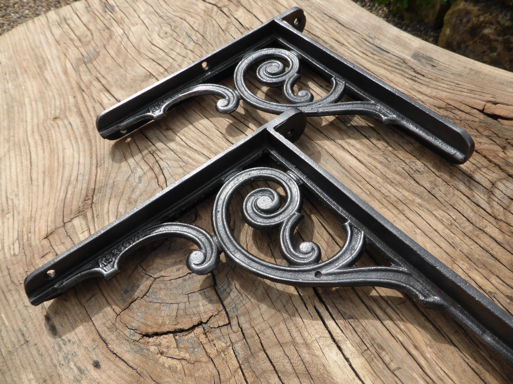 "9"" Art Nouveau Rd No. 1895 Cast Iron Brackets"