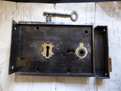 "7"" x 5"" Victorian Cast Iron Door Rim Lock, Key & Keep"