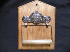 St Pancras Cast Iron and Wood Antique Toilet Roll / Paper Holder