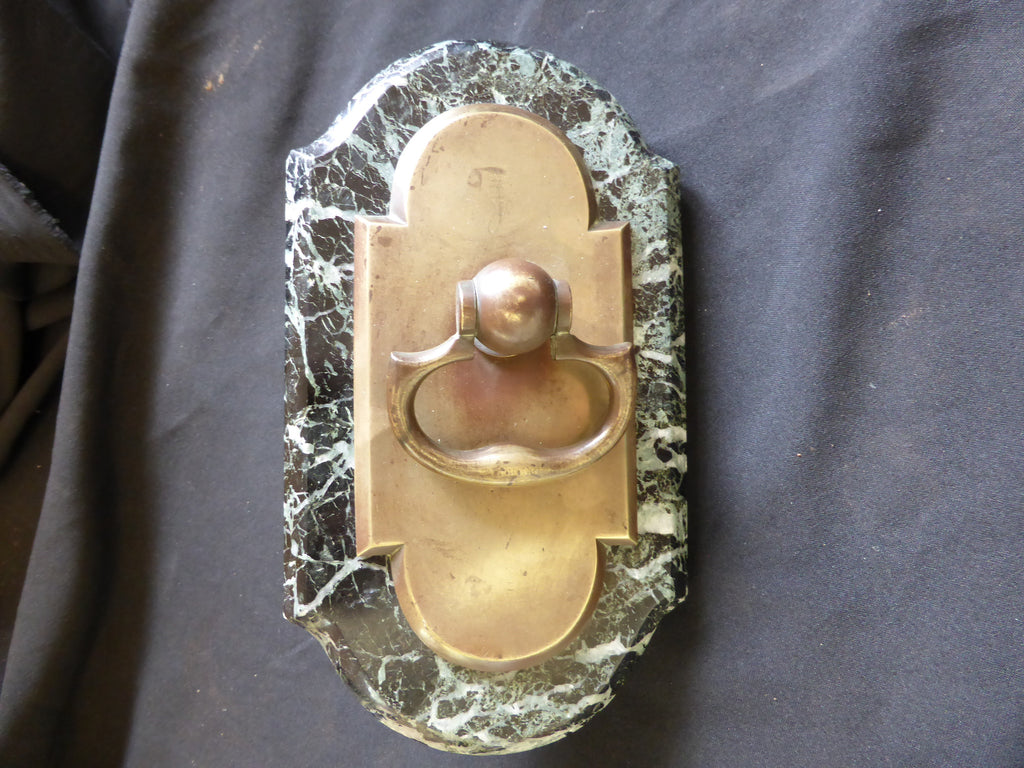 Antique Brass and Marble Mechanical Door Bell Pull