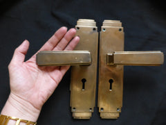 "Large 9"" Art Deco Bronze / Brass Door Handles - 5 Pairs available"