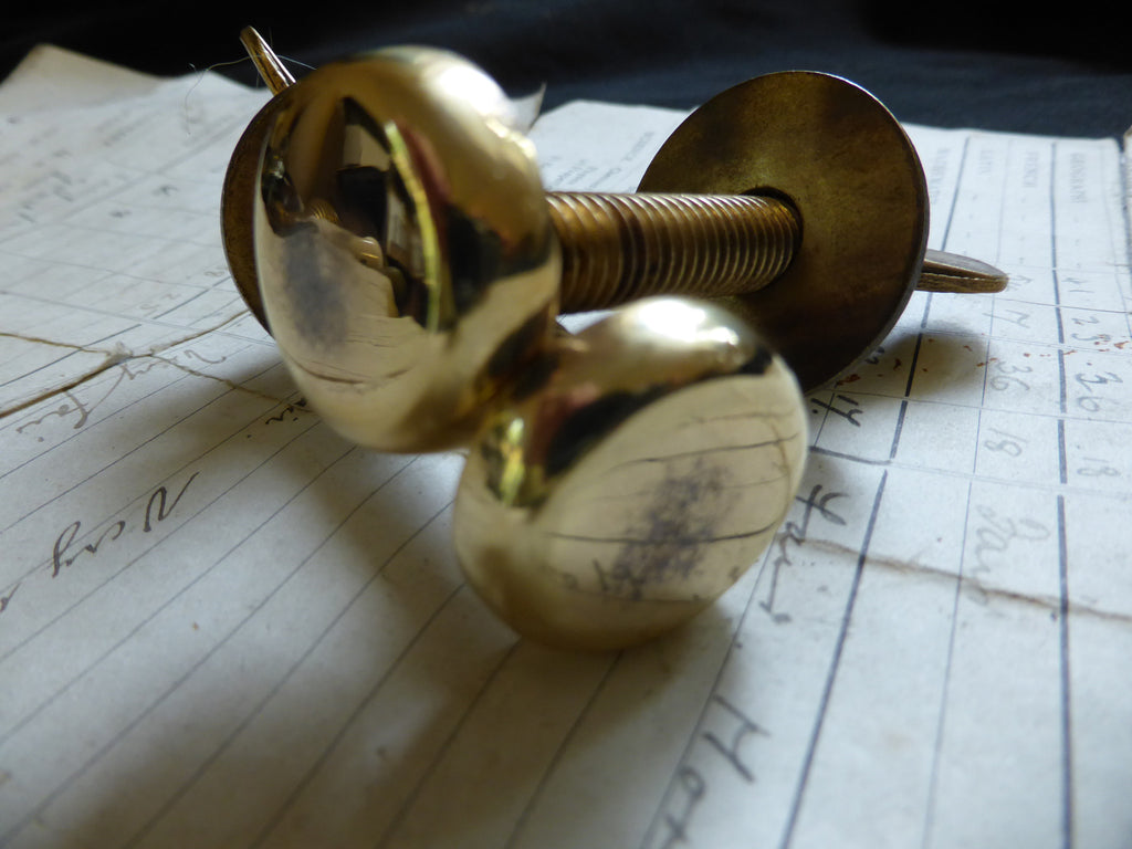 Pair Large Antique Brass Toilet Seat Fixing Nuts and Bolts - Wingnut