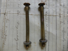 Pair Small Antique Brass Toilet Seat Fixing Nuts and Bolts