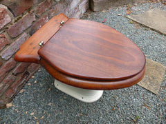Restored Antique Mahogany Wooden Toilet Seat with Lid
